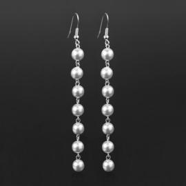 Kolczyki wiszące czeskie perła biała 53/105 EA2865