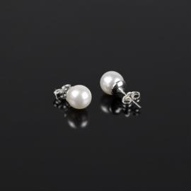 Kolczyki czeskie perła biała 0,8cm 43/103 EA2869