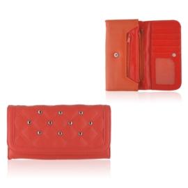 Portfel damski z ćwiakami - czerwony - P1181