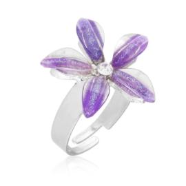 Pierścionek z regulacją fioletowy kwiat PIER138