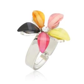 Pierścionek z regulacją kolorowy kwiat PIER139