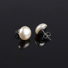 Kolczyki czeskie perła płask ecru 1,2cm48/9 EA2875