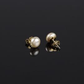 Kolczyki czeskie perła ecru zł 0,8cm 43/103 EA2876