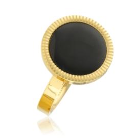 Pierścionek stal - czarne oczko - Blueberry PP2584
