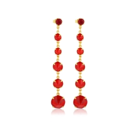 Kolczyki czeskie kryształy czerwony 53/193 EA3197