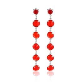 Kolczyki wiszące kryształy czerwień 53/157 EA3238