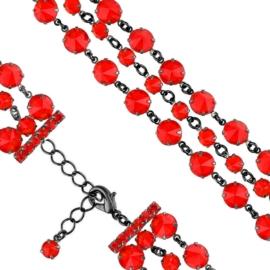 Bransoletka kryształy czerwień 63/37 - BRA2665