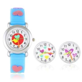 Zegarek dziecięcy serduszka - niebieski Z1605