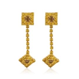 Kolczyki wiszące dżety gold romby 48/18 EA3318
