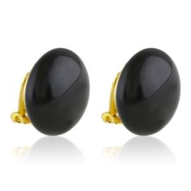 Klipsy czeskie perła czarna 2cm 48/167 EA3320