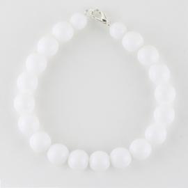 Bransoletka perły białe mleczne 1cm 43/63 BRA2767