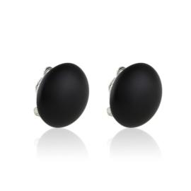 Klipsy czeskie perła czarna mat 2cm 43/105 EA3334