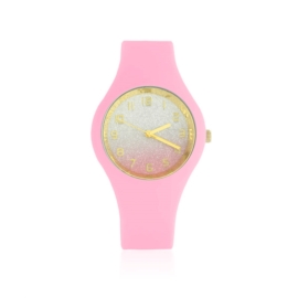 Zegarek silikonowy - róż glitter Z1609