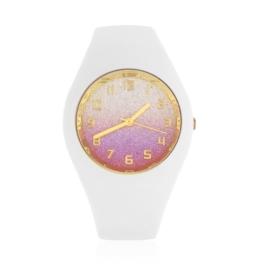 Zegarek silikonowy - rbiały glitter Z1613