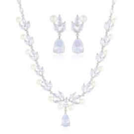 Komplet biżuterii ślubnej z perłami Xuping - SKO95