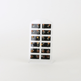 Kolczyki paletka 12szt pomarańcz kryształki EA3366