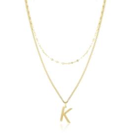 Naszyjnik stal z literką - K - Xuping CP4022