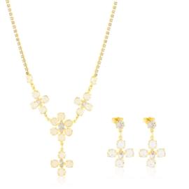 Komplet kryształy w złotej oprawie 53/86 - KOM273