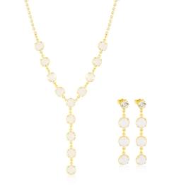 Komplet kryształy w złotej oprawie 53/85 - KOM275