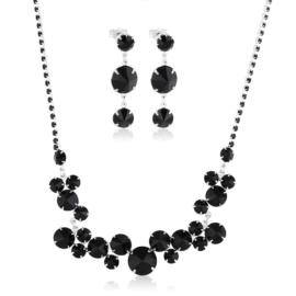 Komplet wieczorowy czarne kryształy 53/172 KOM280