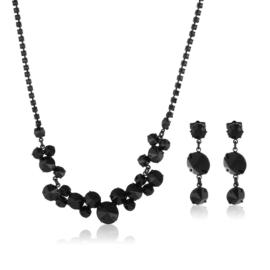 Komplet wieczorowy czarne kryształy 53/85 KOM282