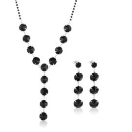 Komplet wieczorowy czarne kryształy 53/216 KOM283