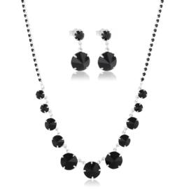 Komplet wieczorowy czarne kryształy 53/172 KOM286