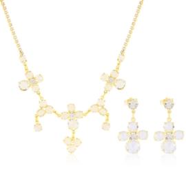 Komplet kryształy w złotej oprawie 53/85 KOM290
