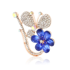 Broszka motyl z kwiatkiem - 5cm BR646