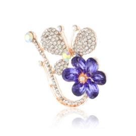 Broszka motyl z kwiatkiem - 5cm BR649