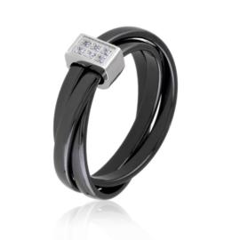 Pierścionek ceramiczny czarny - Xuping PP2876