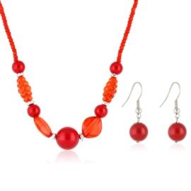 Komplet biżuterii sztucznej - red KOM308
