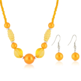 Komplet biżuterii sztucznej - orange KOM310