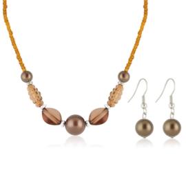 Komplet biżuterii sztucznej - brown KOM311