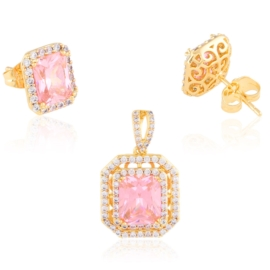 Komplet biżuterii różowe kamienie Xuping PK543