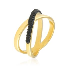 Pierścionek z czarnymi kryształkami Xuping PP2903