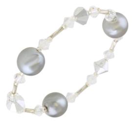 Bransoletka perła czeska szara - BRA2863