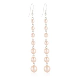 Kolczyki różowe czeskie perły stopniowane EA3472