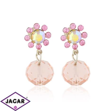 Kolczyki kryształowe kwiatki - pink - EA3504