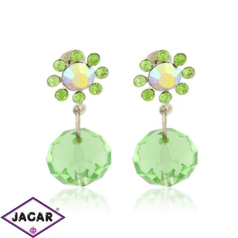 Kolczyki kryształowe kwiatki - green - EA3507