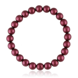Bransoletka czeskie perły czerwone - BRA3018