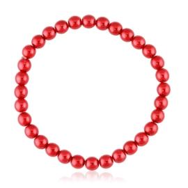 Bransoletka czeskie perły czerwone - BRA3019