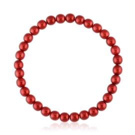 Bransoletka czeskie perły czerwone - BRA3020