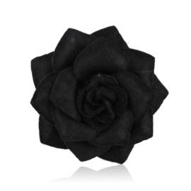 Broszka filcowy kwiatek czarny BR661
