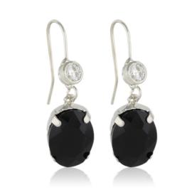 Kolczyki wiszące z kryształami czarne - EA3525