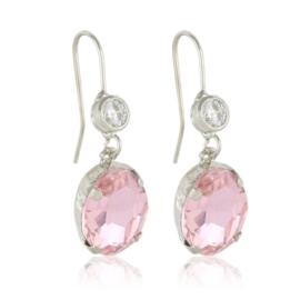 Kolczyki wiszące z kryształami różowe - EA3526