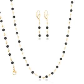 Komplet biżuterii czarne kryształki - Xuping PK547