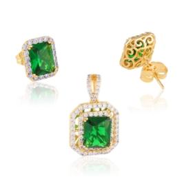 Komplet biżuterii - zielony kamień - Xuping PK548