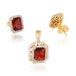 Komplet biżuterii - czerwony kamień - Xuping PK549