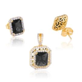 Komplet biżuterii - czarny kamień - Xuping PK550
